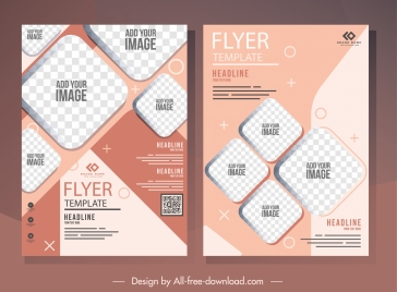 corporate flyer template elegant checkered geometric decor