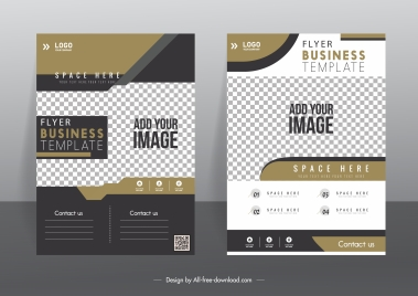 corporate flyer template elegant modern checkered decor