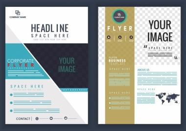 corporate flyer template modern design checkered decor