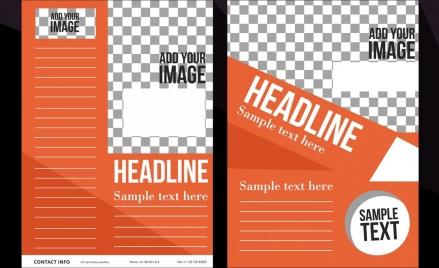 corporate flyer template orange checkered decor modern design