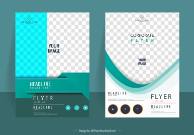 corporate flyer templates elegant bright checkered decor