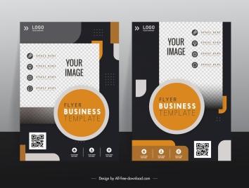 corporate flyer templates elegant contrast checkered geometric decor