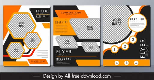 corporate flyer templates elegant contrast checkered geometry shapes