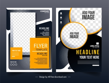 corporate flyer templates elegant contrast design checkered geometry