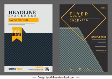 corporate flyer templates elegant dark black checkered decor