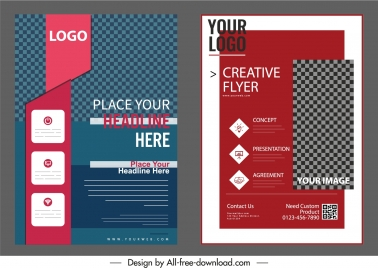 corporate flyer templates elegant dark checkered decor