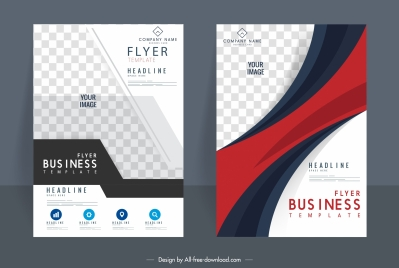 corporate flyer templates elegant modern checkered decor