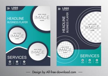 corporate flyer templates elegant modern circles checkered decor