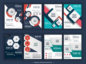 corporate flyer templates geometric checkered decor