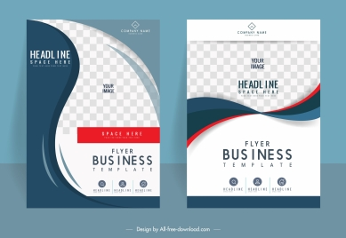 corporate flyer templates modern checkered curves decor
