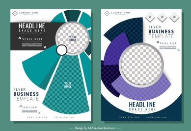 corporate flyer templates modern checkered geometric decor