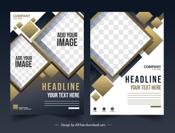 corporate flyer templates modern elegant checkered geometric decor