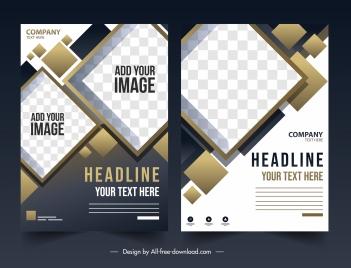 corporate flyer templates modern elegant checkered geometric decor