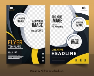corporate flyer templates modern elegant contrasted checkered decor