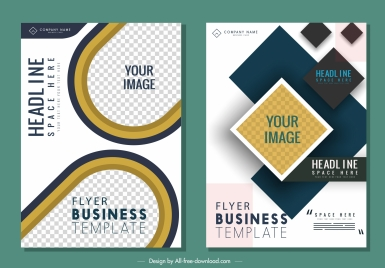 corporate flyer templates modern flat checkered decor