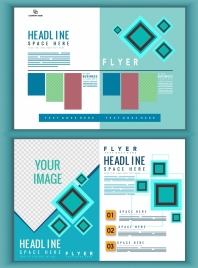 corporate flyer templates multicolored geometric decoration