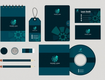 corporate identity collection dark blue design mechanism ornament