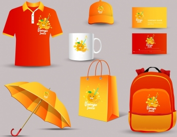 corporate identity collection orange juice decoration