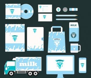 corporate identity collection splashing milk icon blue design