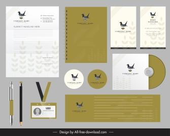 corporate identity sets bird logo decor