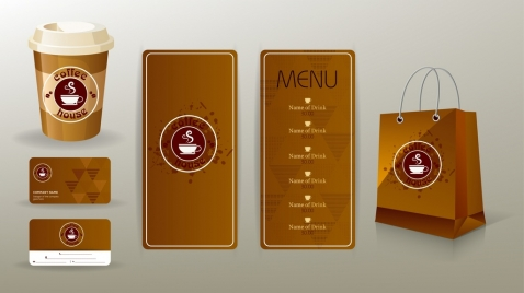 corporate identity sets brown design coffee cup logo
