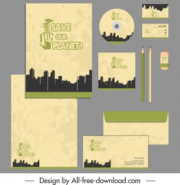 corporate identity sets earth saving theme silhouette design