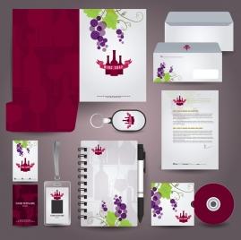 corporate identity sets grapes wines symbols ornament