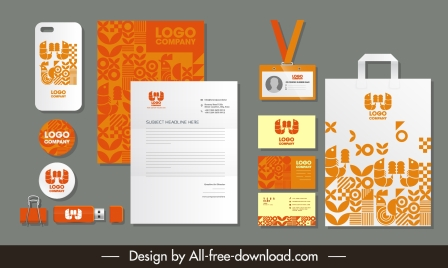 corporate identity sets orange white abstract decor