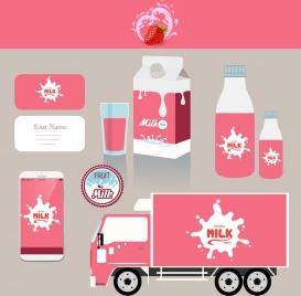 corporate identity sets splashing milk logo pink decoration