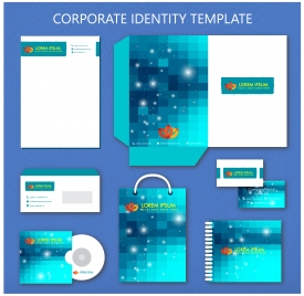 corporate identity templates design with sparkling bokeh illustration