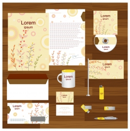 corporate identity templates with bright flowers background