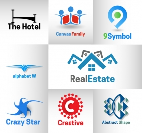 corporate logo design elements illustration with various shapes