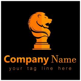 corporate logo design with lion emblem on dark