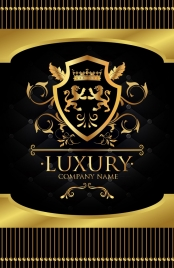 corporate logotype classical symmetric shiny golden vip decor