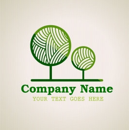 corporate logotype green tree icon circle curves decor