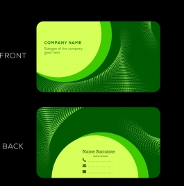 corporate name card green curves decoration technological style