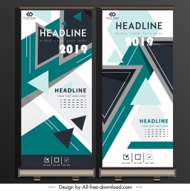 corporate poster standee scroll design geometric triangles decor
