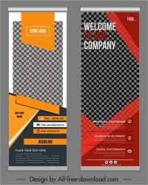 corporate poster template elegant checkered decor modern standee