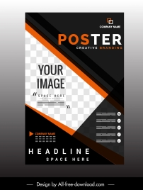 corporate poster template modern elegant black white decor