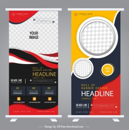 corporate standee banners modern colorful technology decor
