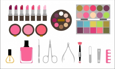 cosmetic accessories sets various colored types flat style