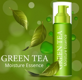 cosmetic advertisement shiny green design falling leaves icon