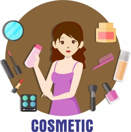 cosmetic advertisement woman makeup tools icons