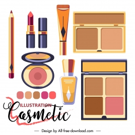 cosmetic advertising banner colorful shiny flat objects decor