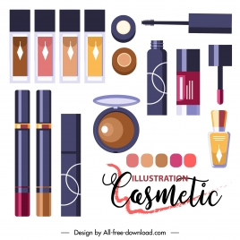 cosmetic banner template colorful modern flat sketch