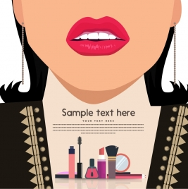 cosmetic promotion banner woman lips makeup accessories ornament