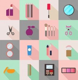 cosmetic symbols collection various flat colored isolation