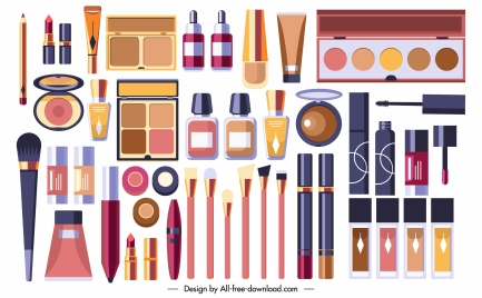 cosmetic tools background colorful flat modern design