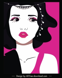 cosmetics advertising background lady face sketch cartoon character