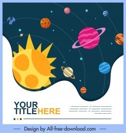 cosmos background solar system planets orbit sketch